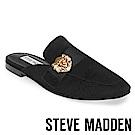 STEVE MADDEN-KARISMA 獅子飾扣真皮低跟穆勒鞋-麂皮黑