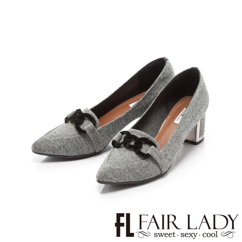 FAIR LADY 優雅小姐Miss Elegant 扣環布紋尖頭粗跟鞋 灰條紋