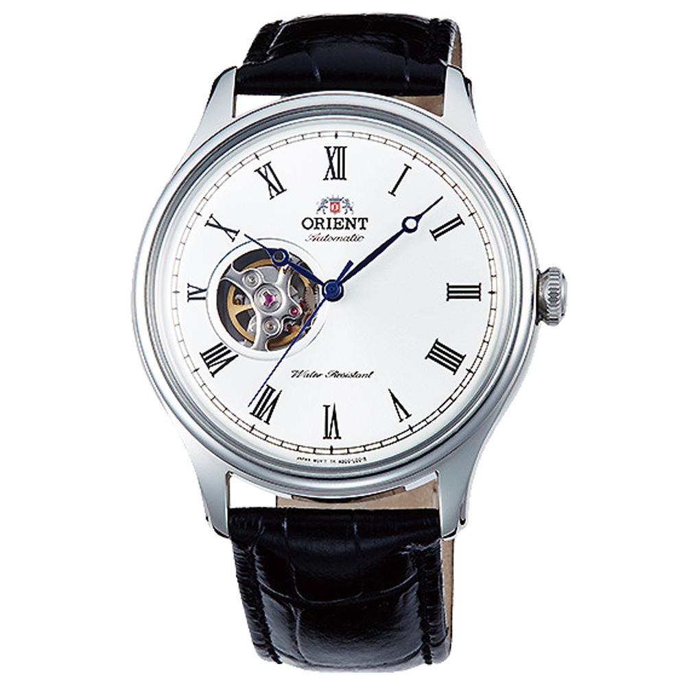 ORIENT東方縷空機械錶真皮手錶FAG00003-銀X黑/43mm