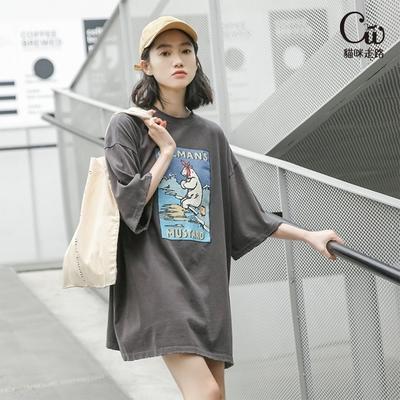 [CW.貓咪走路]韓版OVERSIZE百搭T恤(2色F/KDT-5747)