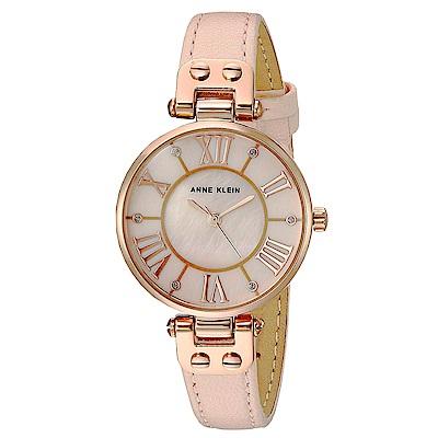 Anne Klein 粉紅鈴蘭水鑽時標小牛皮腕錶-白珍珠母貝x30mm