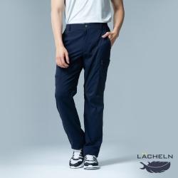 【LACHELN】抗UV彈性休閒男多口袋兩穿工作褲-L91M701藏藍色