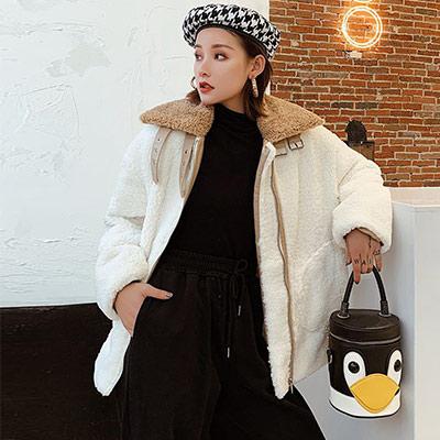 歐美街頭風短款羊羔毛大衣 (米白色)-Kugi Girl