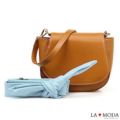 La Moda 約會不敗單品蝴蝶結裝飾背帶肩背斜背小包(棕)