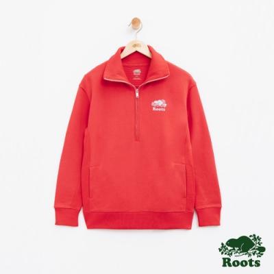 女裝Roots BREATHE毛圈拉鍊高領上衣-紅