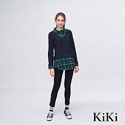 KiKi INLook 假兩件式短針織衫與格紋長衫(綠色)