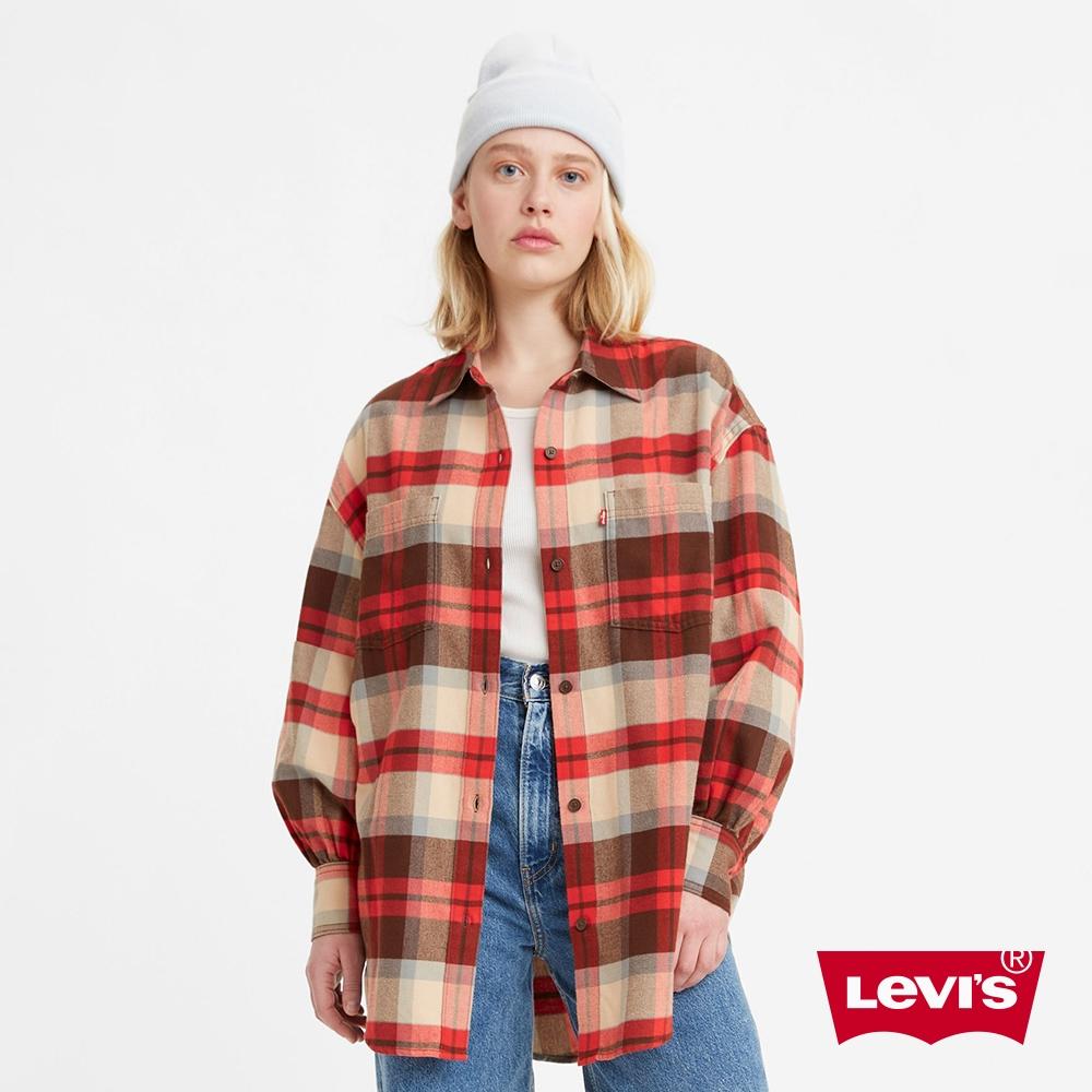 Levis 女款 工裝格紋襯衫外套 Oversize寬鬆版型 天絲棉 回收再造纖維