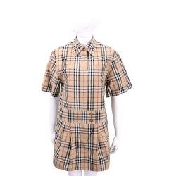 BURBERRY Vintage 卡其格紋雙釦襯衫式洋裝