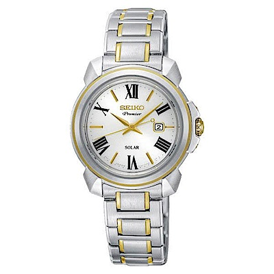 SEIKO 精工PREMIER太陽能雙色羅馬古典腕錶-女SUT346J1