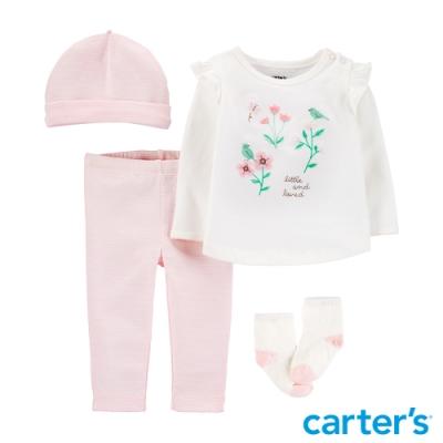 【Carter s】清新花朵4件組套裝(6M-12M) (長袖上衣/配飾)(台灣總代理)