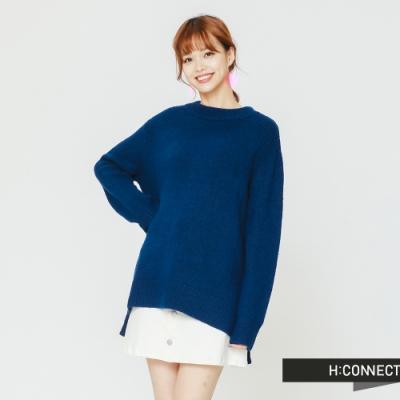 H:CONNECT 韓國品牌 女裝 -圓領側開岔毛衣-藍(快)