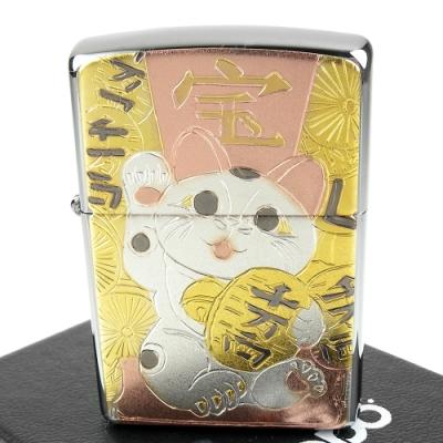 ZIPPO 日系~傳統藝術-招財貓圖案電鑄板貼片加工打火機
