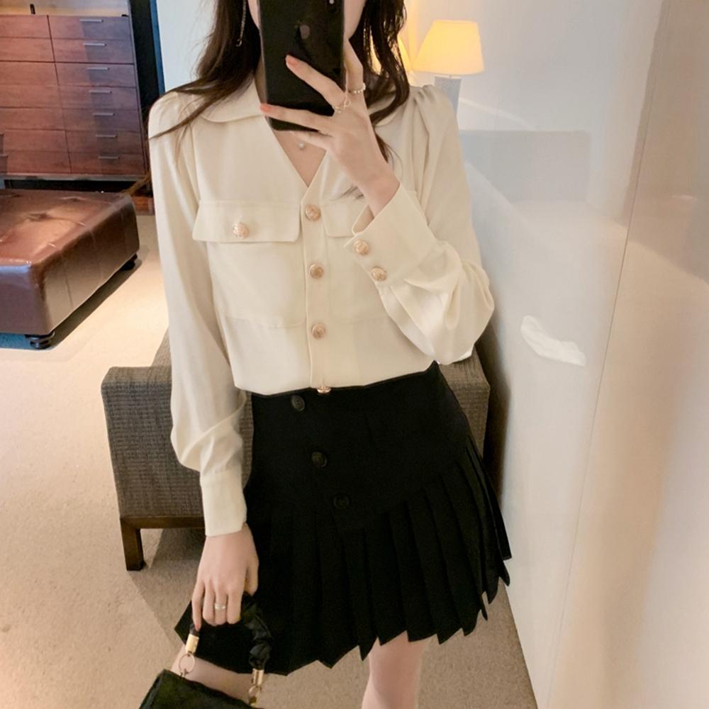 氣質純色雪翻V領雙口袋雪紡襯衫S-XL(共二色)-白色戀人