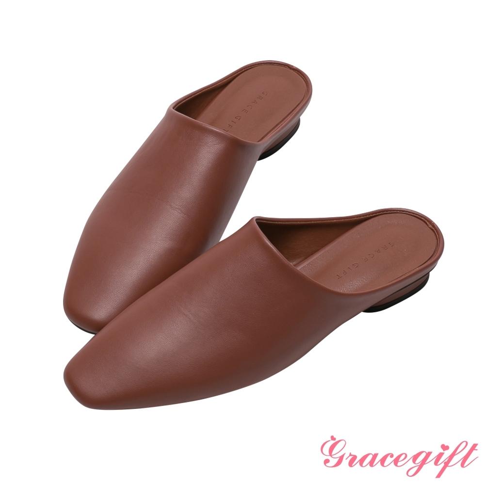 Grace gift-ETUDE leather shop-質感圓低跟穆勒鞋 紅咖
