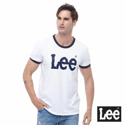 Lee 短T 大Logo 復古滾邊 圓領T 男款-白色