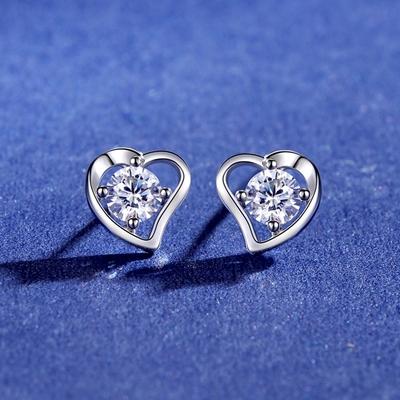 米蘭精品 莫桑鑽耳環925純銀耳針-0.3ct鏤空愛心時尚聖誕節情人節生日禮物女飾品73yk83
