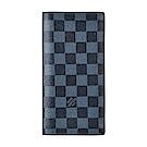LV N63212經典BRAZZA 棋盤格DAMIER COBALT帆布直立對折長夾(灰藍
