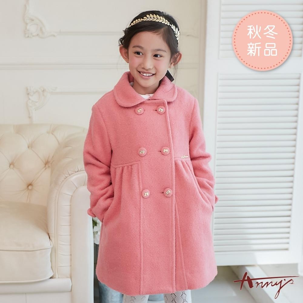 Annys安妮公主-氣質名媛秋冬款抓皺雙排扣混羊毛大衣*8668粉紅
