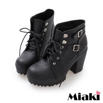 Miaki-踝靴首爾時尚高跟綁帶短靴-黑