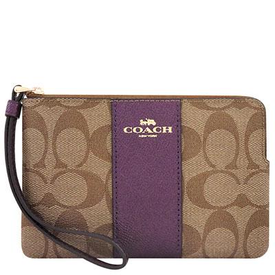 COACH 紫色大C PVC手拿包