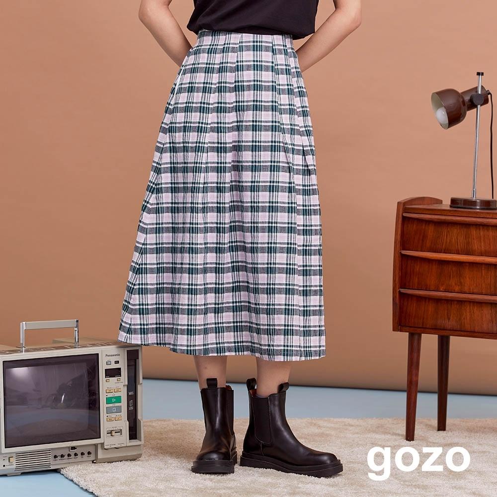 gozo-個性格紋棉質傘裙(兩色) product image 1