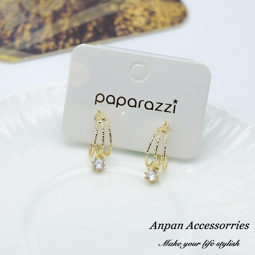 【ANPAN愛扮】韓東大門C型多圈金屬鑲鑽925銀耳針式耳環