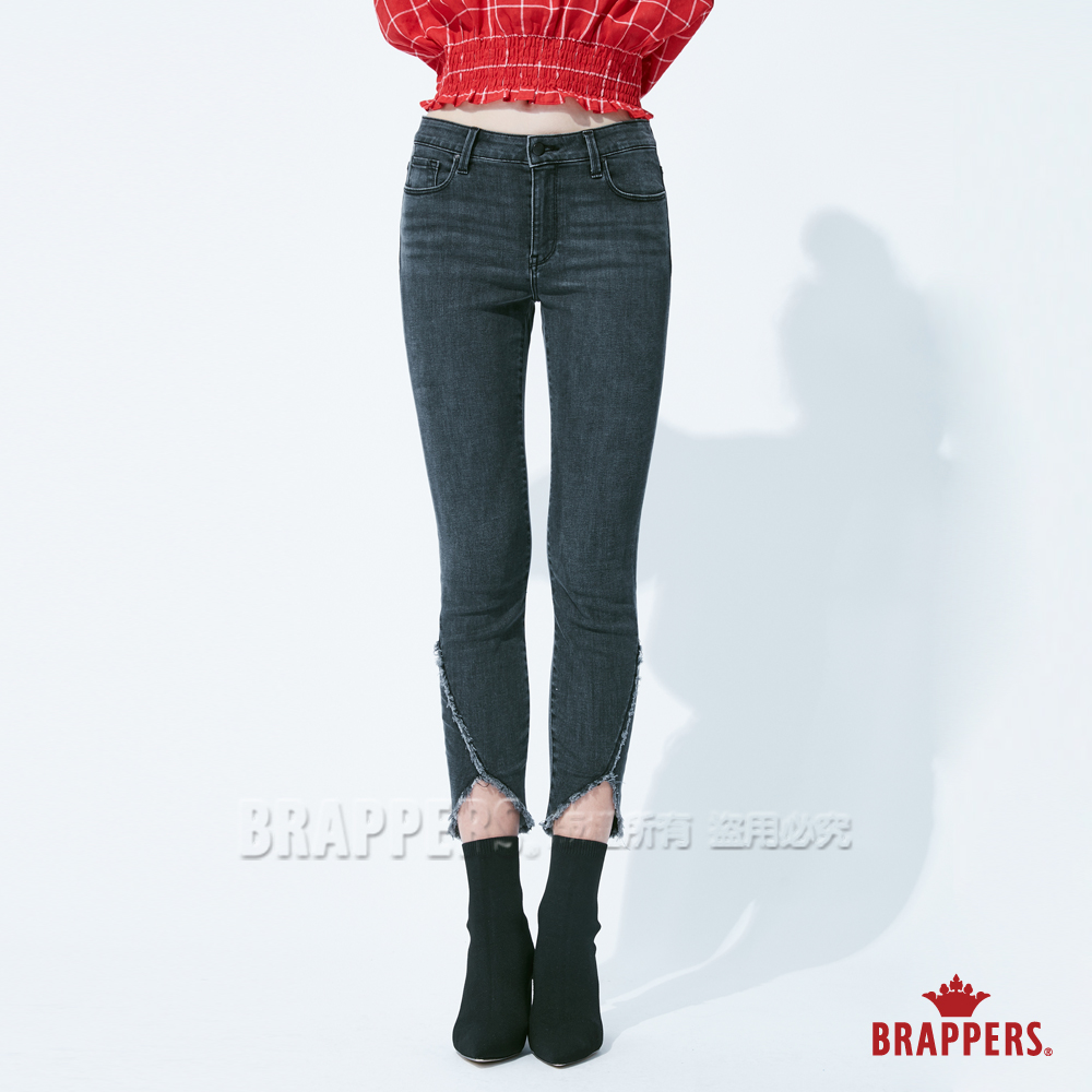 BRAPPERS 女款 新美腳Royal系列-中低腰彈性褲口造型九分褲-黑灰