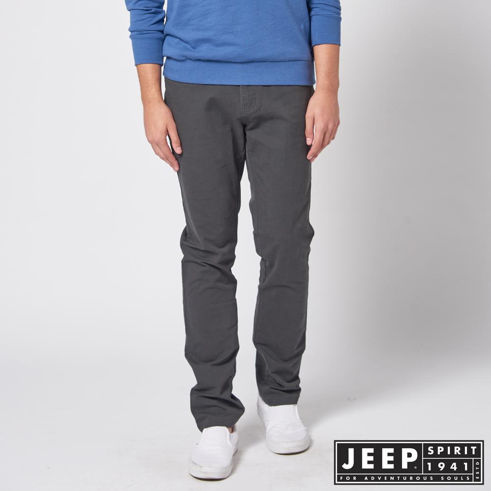 JEEP  美式簡約休閒百搭長褲 -鐵灰色