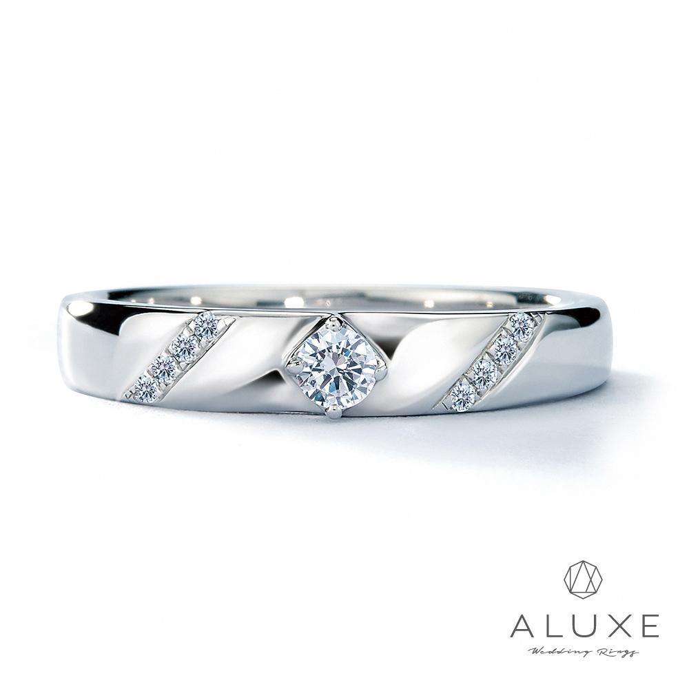 A-LUXE 亞立詩鑽石 18K金情侶結婚戒指-女戒
