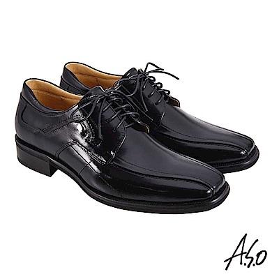 A.S.O職場通勤 勁步雙核心綁帶德比紳士鞋-黑