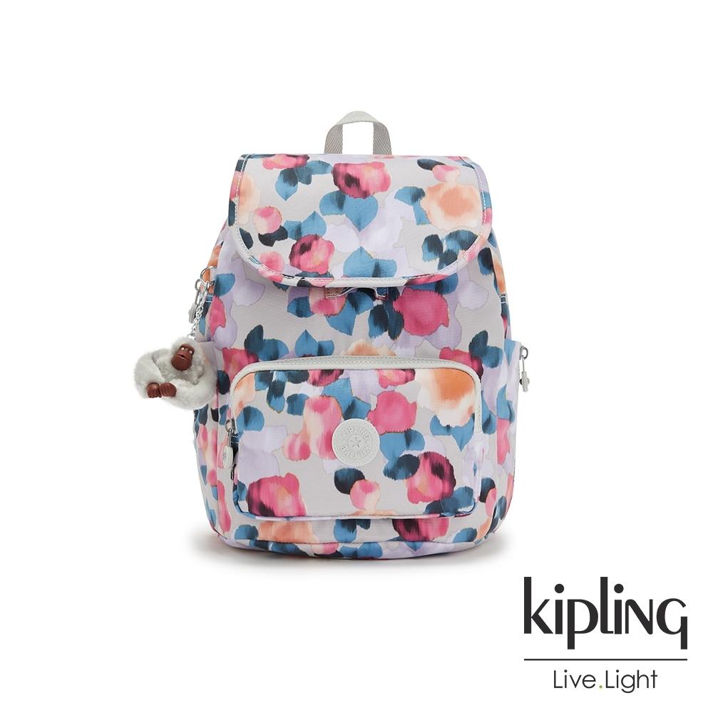 Kipling 繽紛夢幻花繪翻蓋拉鍊後背包-SMALL BACKPACK