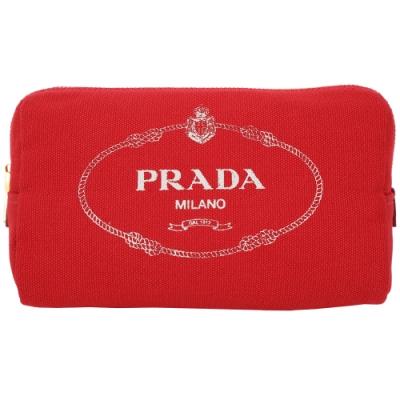 PRADA Canvas 牛仔帆布三角化妝包(紅色)