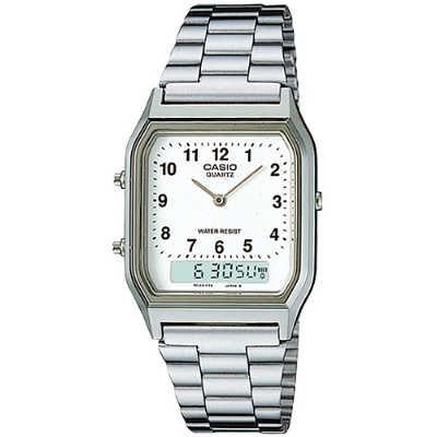 CASIO 銀色復古風雙顯腕錶-數字刻度(AQ-230A-7B)/29.8mm