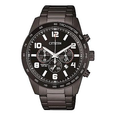 CITIZEN星辰 三眼計時運動經典計時錶(AN8165-59E)