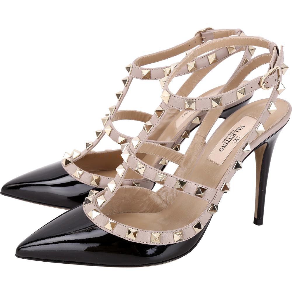 VALENTINO Rockstud 鉚釘漆皮繫帶高跟鞋(黑色)