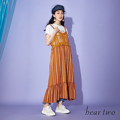beartwo 拼接鏤空網狀吊帶洋裝(兩色)
