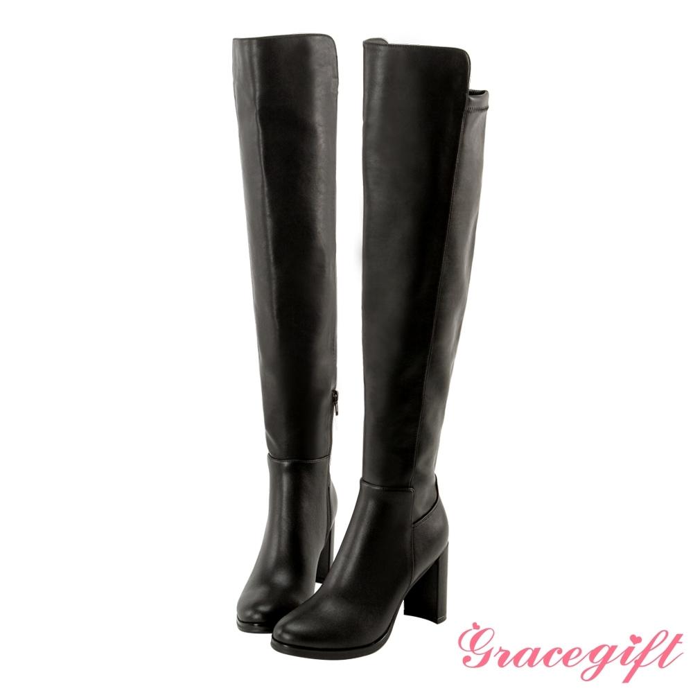 Grace gift X 許允樂-聯名完美比例高跟過膝靴 黑