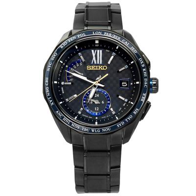 SEIKO 全台限量 50只 太陽能電波鈦金屬手錶-鍍深灰/43mm