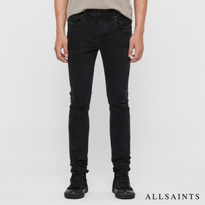 ALLSAINTS CIGARETTE DAMAGED 刷破緊身純棉牛仔褲-黑