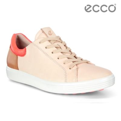ECCO SOFT 7 W 經典輕巧撞色休閒鞋 女-裸