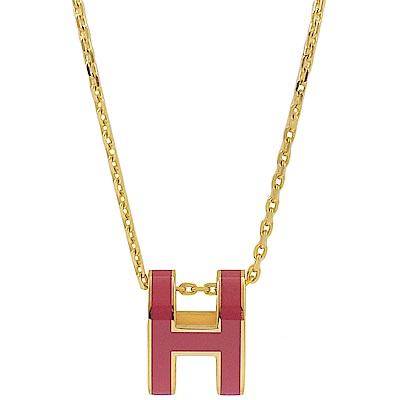 HERMES H POP款LOGO圓弧型項鍊(覆盆莓/金)