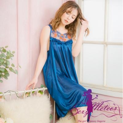 睡衣 全尺碼 冰絲蕾絲蝶結網紗無袖連身裙睡衣(沉靜深藍) Sexy Meteor