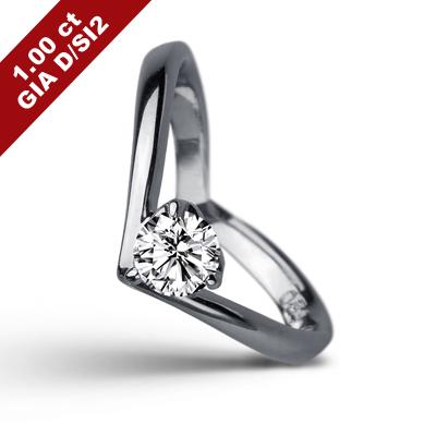 彩糖 GIA 1克拉鑽石 D/SI2 3EX+頂級北極光車工 18K鑽戒