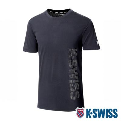K-SWISS Mesh  Print Logo Tee排汗T恤-男-黑