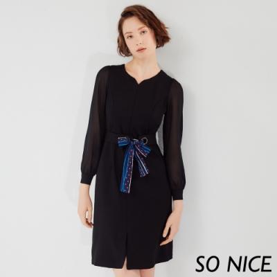SO NICE優雅絲巾雪紡拼接羅馬布洋裝