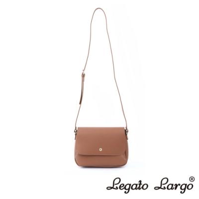 Legato Largo Lusso 別緻復古小金釦翻蓋斜背包 焦糖駝色