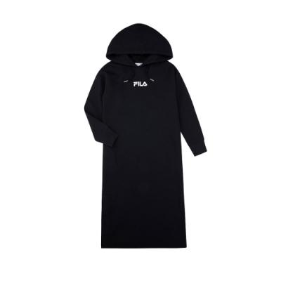 FILA KIDS #架勢新潮 女童長袖洋裝-黑色 5DRV-4412-BK