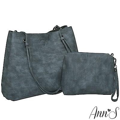 Ann'S訂製雲彩皮革肩背大容量托特包-藍(附手拿包)
