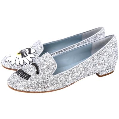 Chiara Ferragni Wonderland 雛菊眨眼亮片樂褔鞋(銀色)