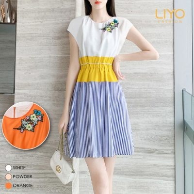 洋裝MIT層次拼接條紋鬆緊歐美優雅洋裝LIYO理優E826006 S-XL